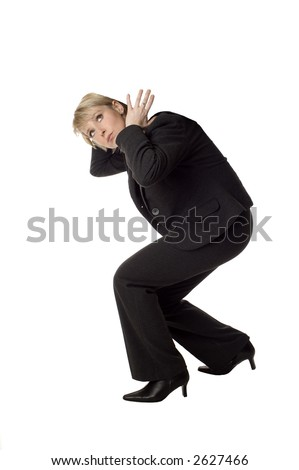 business women carrying nothing on her back on white - stock photo