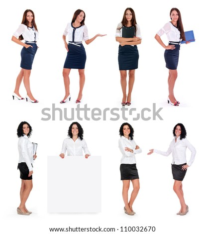 business women collection isolated on white - stock photo