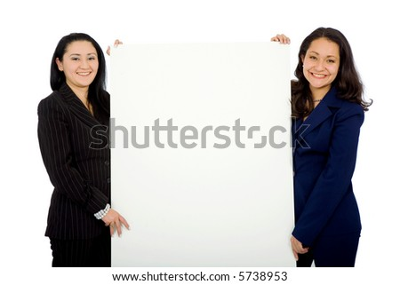 business women doing a presentation smiling and isolated over a white background - stock photo