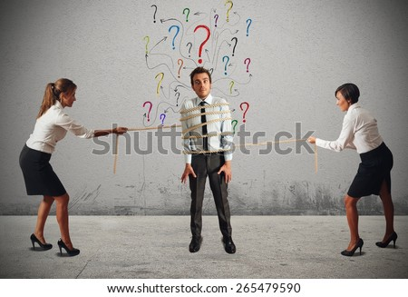 Business women fighting over the boss attention - stock photo