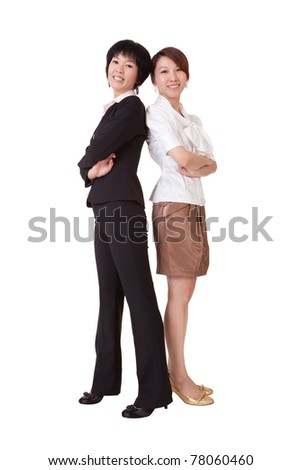 Business women, full length portrait isolated on white background. - stock photo