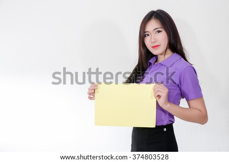 Business women hold paper - stock photo