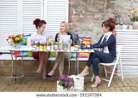 Business women on a coffee break - stock photo