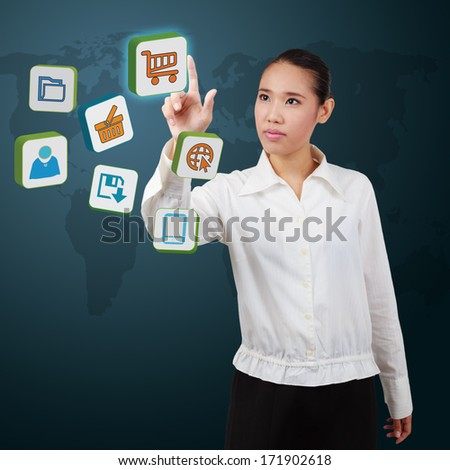 business women point a icon on virtual screen. Concept of communication in the network. - stock photo