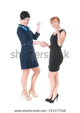 Business women smiling and doing a handshake. - stock photo