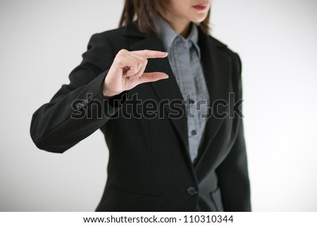 Business women with hand present - stock photo