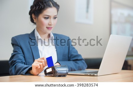 Business women working and use Credit Card Payment, Buy And Sell Products & Service
