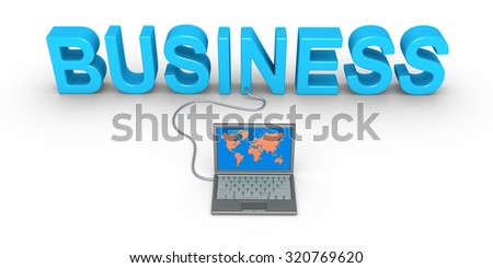Business word and a laptop is connected to it - stock photo