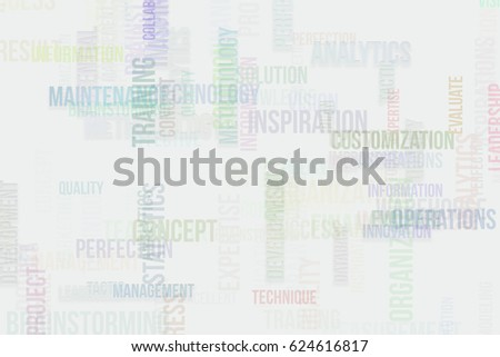 Business word cloud, abstract embossed, soft blend, for web page, graphic design, catalog, textile or texture printing & background.