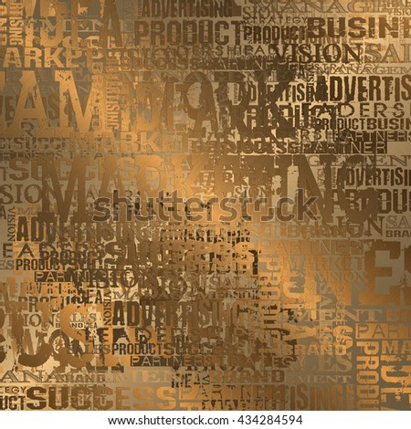 Business Word Cloud Concept Background.  Gold Style - stock photo