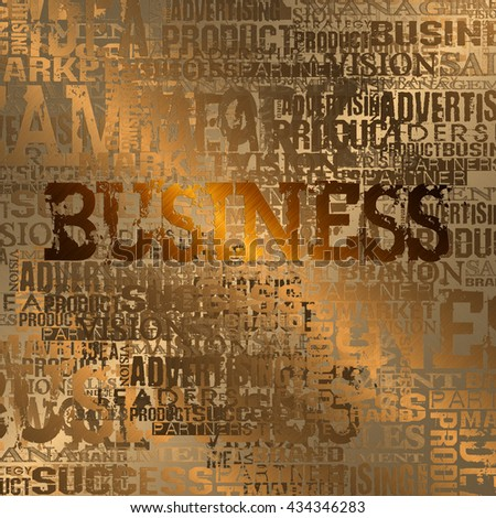 Business Word Cloud Concept Background.  Gold Style