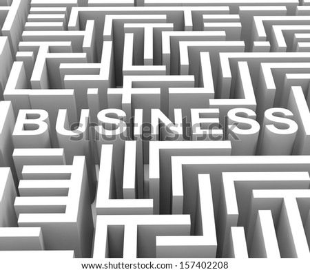 Business Word In Maze Shows Finding Commerce Or Entrepreneur