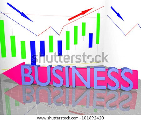 Business word on arrow and Statistic Diagram Graph Financial strategy concept - stock photo
