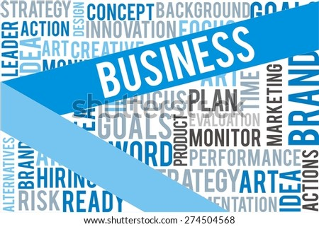 business word on blue line with collage word background