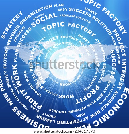Business words against world map. Blue background