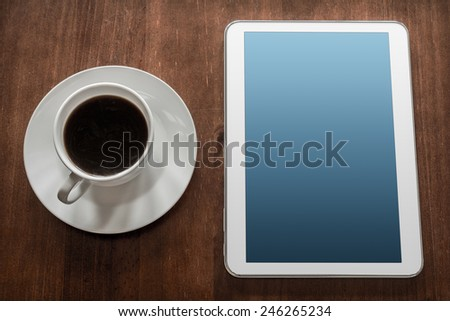Business Work With Tablet & A Cup Of Coffee - stock photo