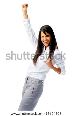 Business worker punches fist into the air, isolated on white - stock photo