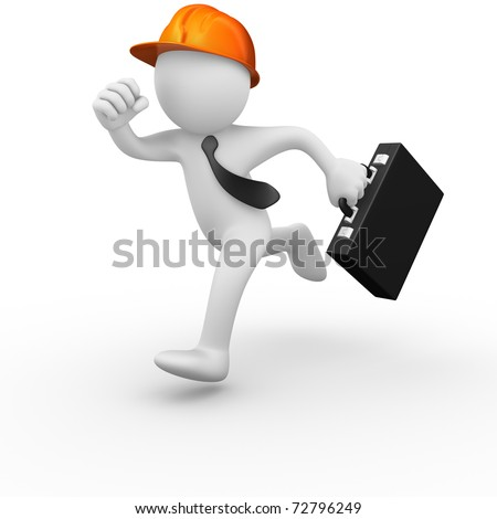 Business worker running with a tie and a briefcase - stock photo