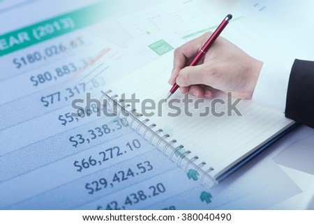 business worker with a blank notebook - stock photo
