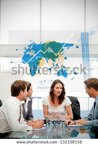 Business workers using blue map diagram interface in a meeting - stock photo