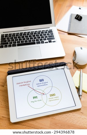 Business working desk with tablet showing search engine marketing concept - stock photo
