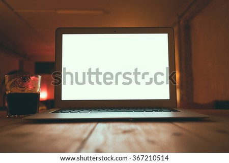 Business workplace with open laptop on a modern office background.blank screen for your design,text or content  - stock photo