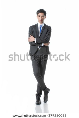 Business young man of Asian, full length portrait isolated