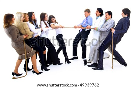 Businesscompetition-Teams struggleing to win - stock photo