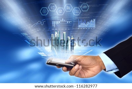 Businessman accessing and controlling his business progress and report from his smart phone