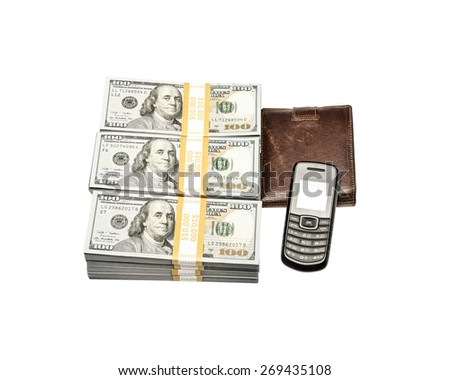 Businessman accessories, cellphone and money isolated on white background, money concept, expensive bill