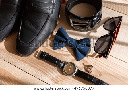 Businessman accessories. Man's style. Men's Accessories : Men's butterfly, Men's shoes , men's watches. Set groom Butterfly shoes Belts Watches