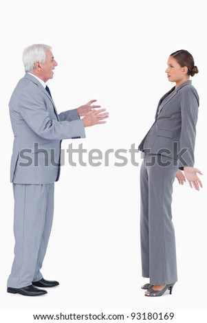 Businessman accusing colleague against a white background - stock photo