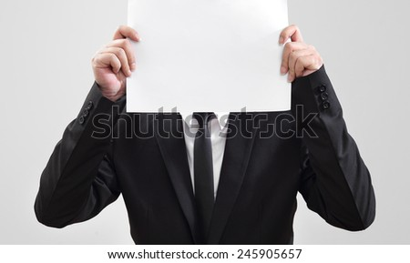 Businessman acting show paper for something communicate