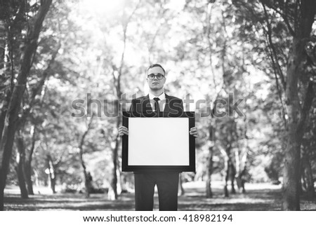 Businessman Advertisement Sign Outdoors Concept - stock photo