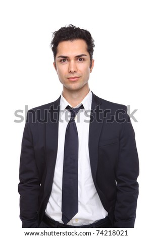 Businessman against a white background with hands in his pockets - stock photo
