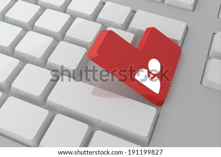 Businessman against white keyboard with red key