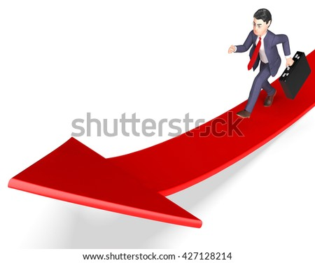 Businessman Aims Meaning Ahead Ambition And Arrows 3d Rendering - stock photo