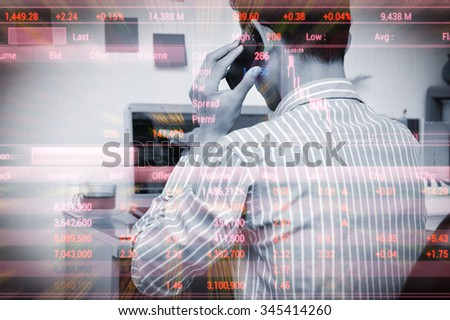 Businessman analysis the stockmarket on labtop in home office, Stock Market Investment Online - stock photo