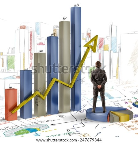 Businessman analyzes graphics and profits of company - stock photo