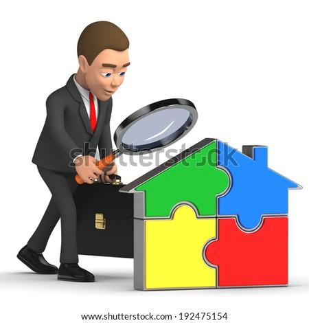 businessman analyzes house  - stock photo