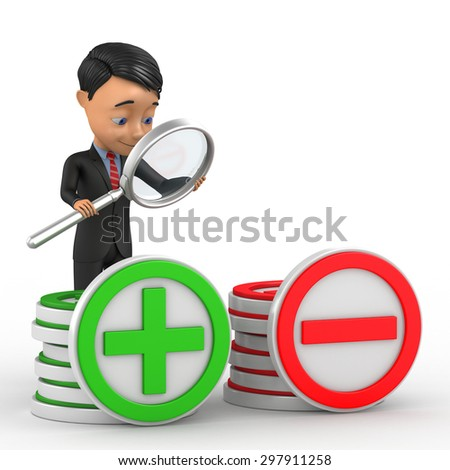 businessman analyzes the pros and cons - stock photo
