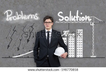 Businessman and a graph 'problems and solution'  - stock photo