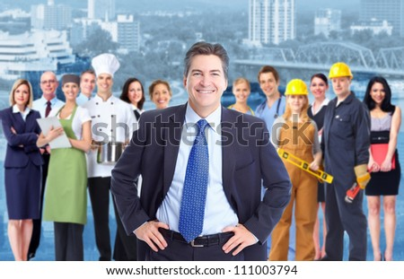 Businessman  and a Group of industrial workers. - stock photo