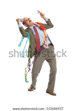 Businessman and birthday on a white background