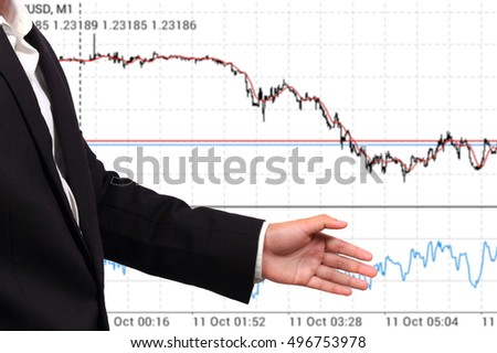 Businessman and blur graph of stock market background.