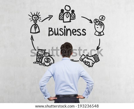 Businessman and business plan - stock photo