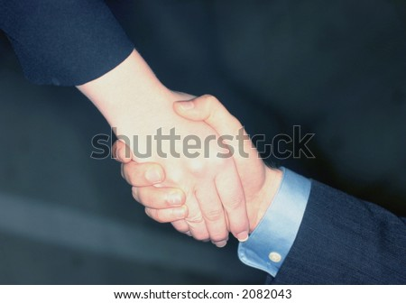 Businessman and businesswoman give a handshake to seal the deal