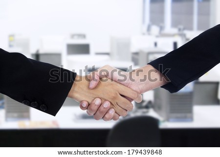 Businessman and businesswoman handshake at office