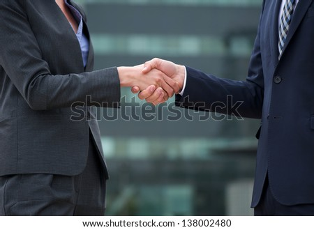 Businessman and businesswoman handshake confirming the deal - stock photo