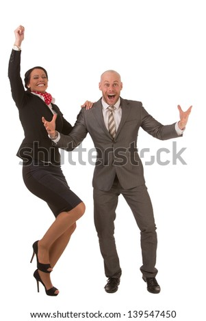 Businessman and businesswoman happily cheering in face of high success isolated on white background